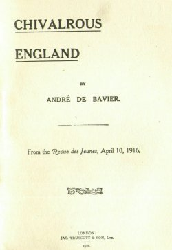 Cover of Civalrous England Pamphlet